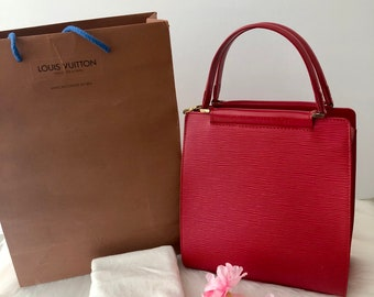 Authentic Louis Vuitton Red Epi Figari PM Leather Top Handle Handbag/Small/Made in France/Super Cute & Stylish/Gift for Her