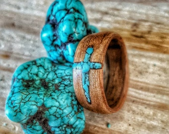 Bentwood ring with turquoise cross inlay