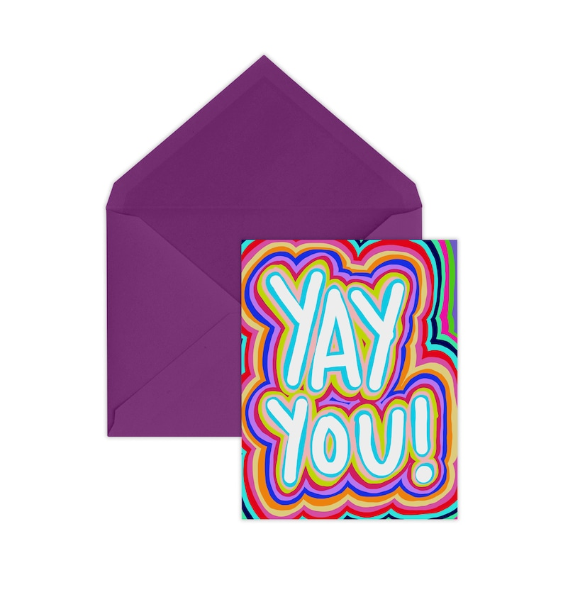 Card from Parents Just Because Card Yay You Card Congrats Motivational Card A2 Size Encouragement Card Colorful Card