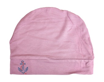 7e12cc2f8c7 Soft Chemo Hat Pink Rose Sleep Cap with Small Blue Stud Anchor Women s Hair  Loss Hat Modest Ladies Beanie Hat Liner Indoor Head Cover