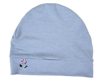 16aecebbb98 Soft Chemo Hat Light Blue Sleep Cap w Small Rhinestone Flower Women s Hair  Loss Hat Modest Ladies Beanie Hat Liner Indoor Head Cover