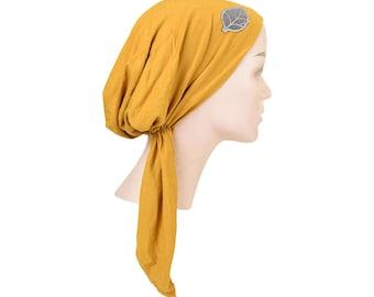 Soft Women s Mustard Yellow Headscarf Modest Tichel Chemo Turban White Head  Scarf w Grey Leaf Pretied Hair Snood Soft Chemo Hat Women s Cap 04421ad6631