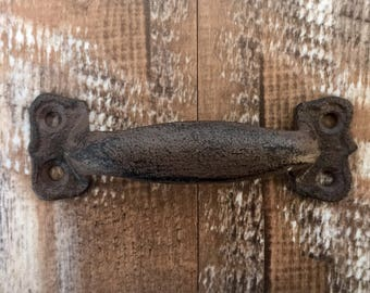 """Cast Iron Pull, Pull, Handle, Cabinet , Drawer, Gate, Door, Supply, 5 3/4"""" Pull, Rustic Pull"""