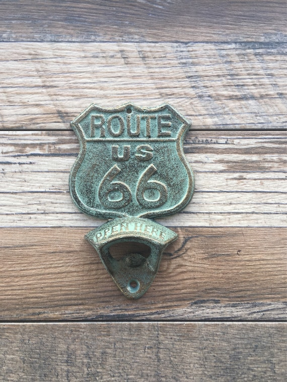 Route 66, Bottle Opener , Cast Iron, Vintage Style, Bar, Patio, Kitchen ,  Man Cave