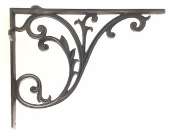 """BIG, Heavy & Strong Shelf Bracket Quality Cast Iron Metal Brackets, Heavy Duty, Use 12"""" side up or 16"""" for Large Shelves! Sold INDIVIDUALLY"""