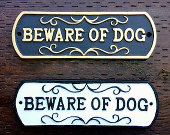 """Beware of Dog, Sign, Cast Iron, Dog Sign, 10"""" Wide, 3"""" Tall,  Beware of Dog Plaque"""
