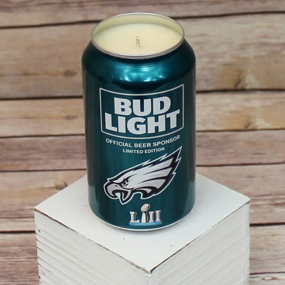 Soy Candle 2018 Bud Light NFL Philadelphia Eagles Team Football Beer Can Soy Candle with Custom Scent