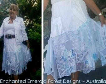 4716107974a08 Blue   White Patchwork Lace Design ~ Stevie Nicks Style Boho Gypsy Shabby  Chic Skirt - Ballerina Length - Made for you