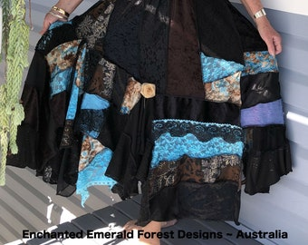 0b8c83725bd4 Black Brown Blue Stevie Nicks Style Bohemian Gypsy Skirt ~ Velvet & Lace  Skirt ~ Free Size Plus Size 14 to 20 Hand Made in Australia by Lynn