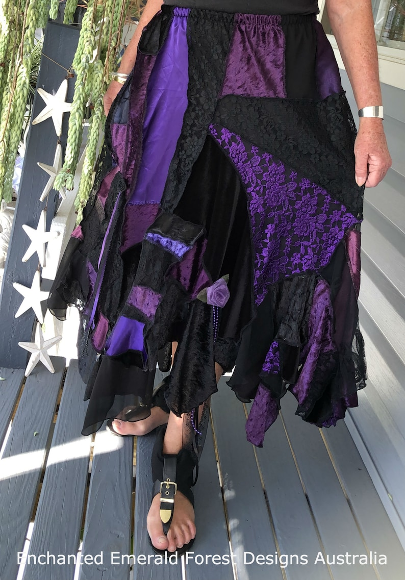 a227c563e91b Purple Black Stevie Nicks Style Gypsy Skirt Velvet Lace | Etsy