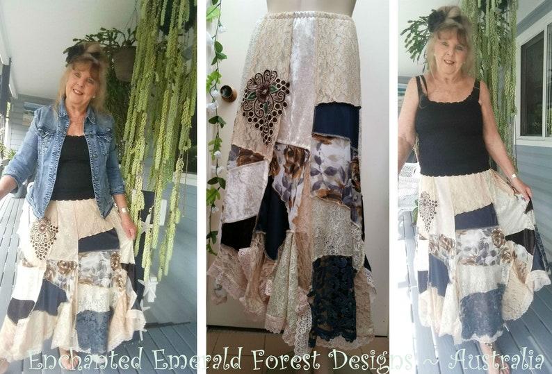 8e48786dbd69a Stevie Nicks Style Bohemian Lace Skirt Gypsy Shabby Chic