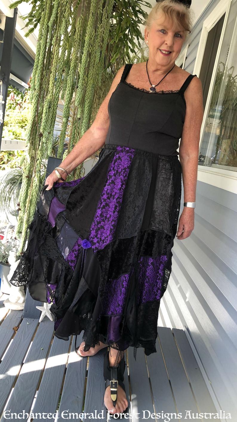 97122edb631c Black & Purple Lace Boho Stevie Nicks Style Gypsy Skirt | Etsy