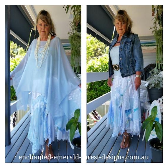 88b2b3196767d Blue   White Stevie Nicks Style Boho Gypsy Shabby Chic Skirt
