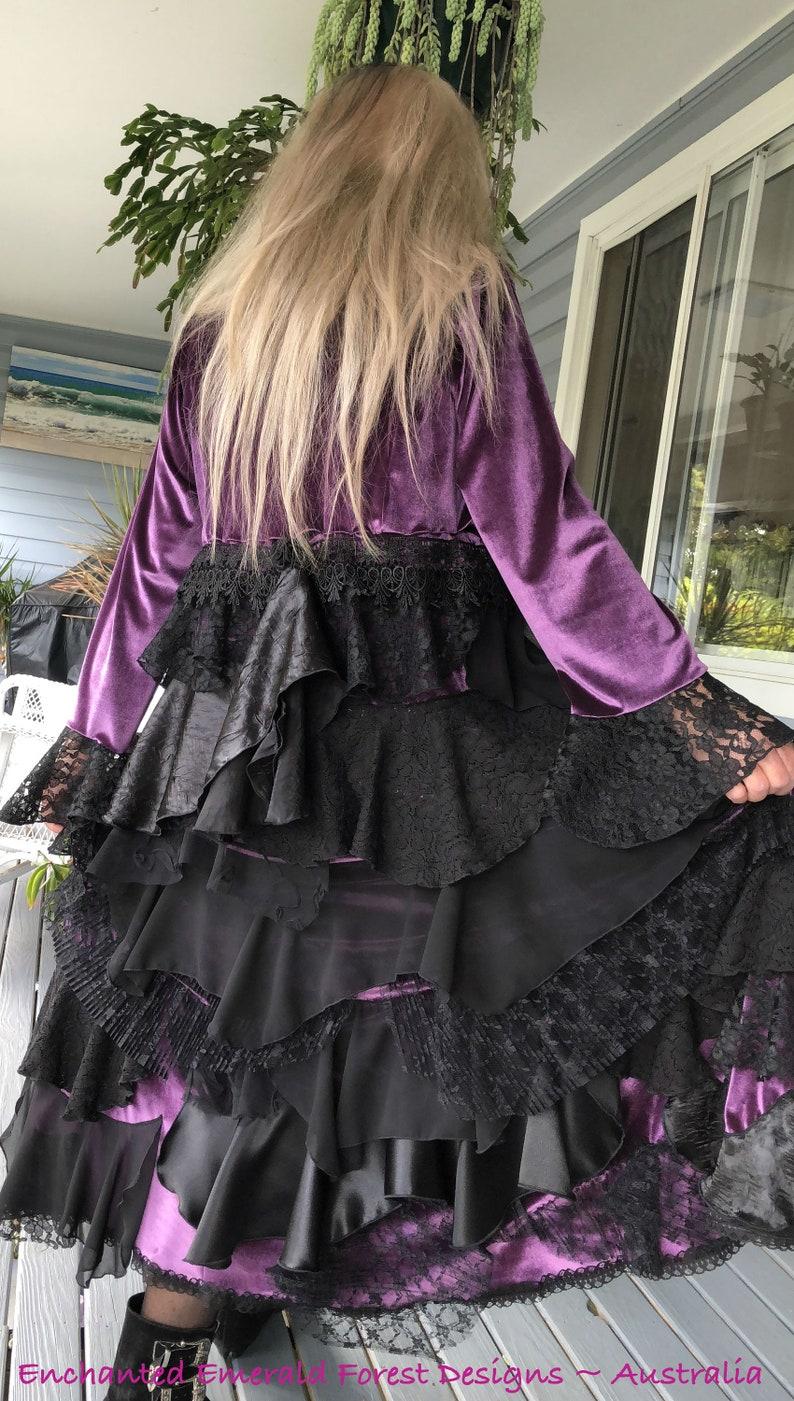 Satin Velvet Lace Chiffon ~ OOAK 102cm Stevie Nicks Style Dusty Purple Velour Long Victorian Ruffle Coat Plus Size 20-22 Bust 48