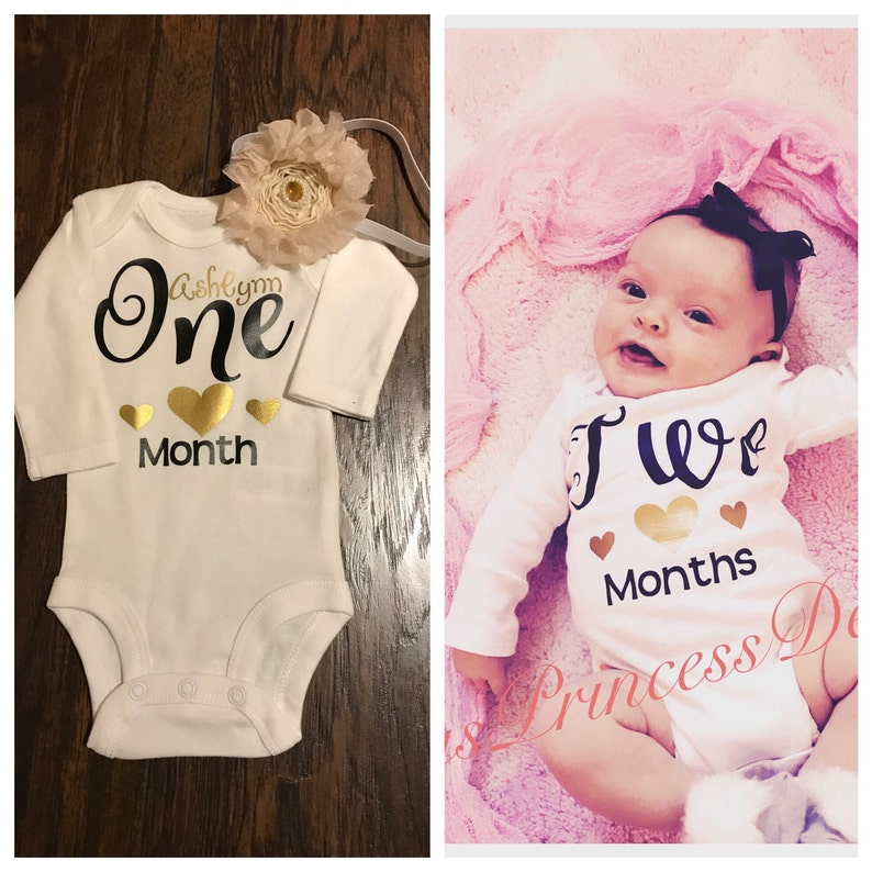 365d2e3c3f61 Adorable milestone onesies for baby s first yearMonth old