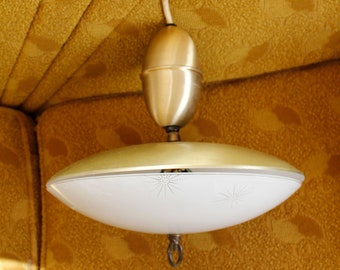1950s/1960s Saucer Lamp  Retractable Ceiling Light  Mid Century Modern   Brass Glass  Starburst