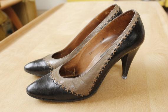 b6d9d1722164 1950s Heels Womens Shoes Pumps Black Grey Van Eli Mid