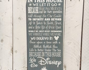 In This House, Disney Inspired Wood Sign, Disney Decor, Disney Sign, Birthday Gift, Gift for Her, Gift for Him, Mother's Day Gift 12x24