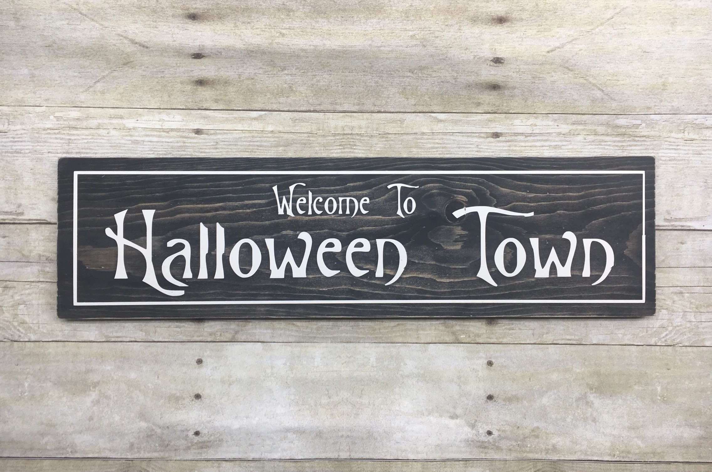Halloween Town Wood Sign Nightmare Before Christmas Decor | Etsy