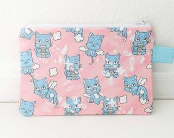 Fairy Tail Happy cute kawaii zipper pouch, Pencil Case, Cosmetic Bag