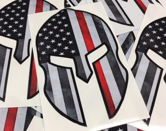 Spartan Helmet Thin Red Line Decal - Thin Red Line American Flag Sticker - Thin Red Line Sticker - Show your support for fellow firefighters