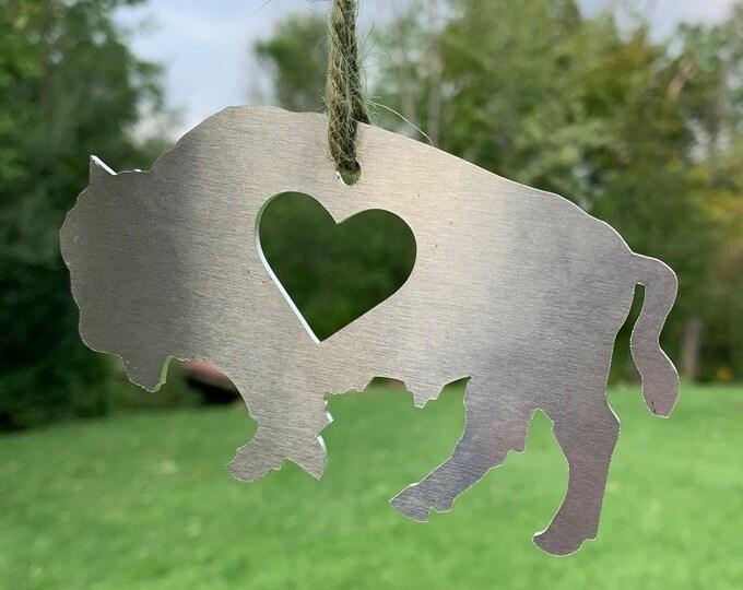 Aluminum Buffalo Metal Art - Buffalo Ornament Decoration Custom Metal Wears Aluminum Metal Art - Made in Buffalo NY - Hearts Buffalove