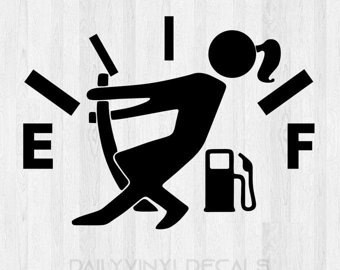 Female Empty Gas Tank Decal Fuel Gauge Decal Empty Gas Sticker - Funny Car Decal Truck Stickers Fuel Decal Stick figure pulling on gas gauge