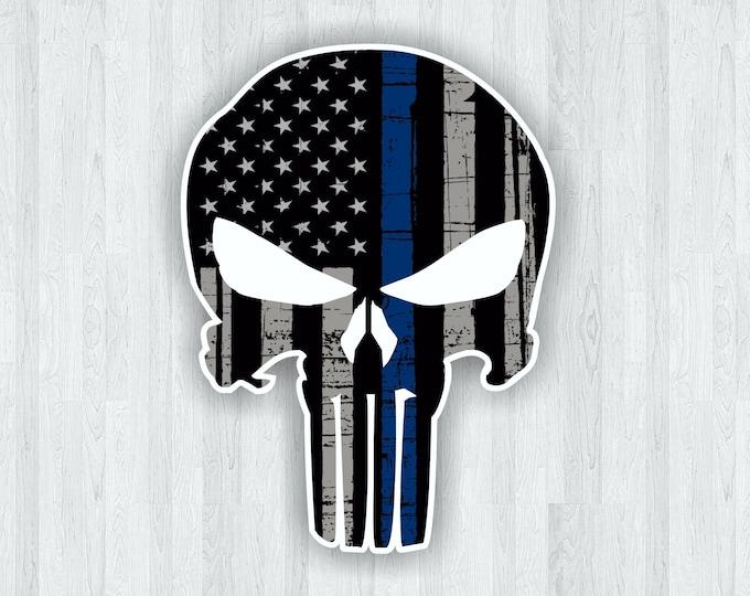 Punisher Sticker Thin Blue Line Skull Sticker Punisher Skull Sticker - Thin Blue Line Decal Thin Blue Line Sticker Support Local Police