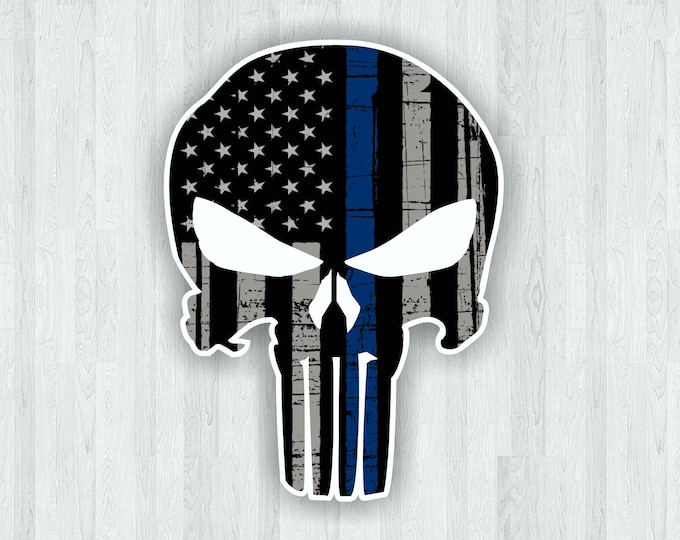 Punisher Thin Blue Line Skull Sticker Punisher Skull Sticker - Thin Blue Line Decal - Thin Blue Line Sticker - Car Truck Decal etc