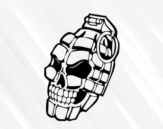 Skull Grenade Decal Skull Grenade Sticker | Skull Decal Skull Sticker | Car Truck Laptop Sticker etc. Choose Size & Color