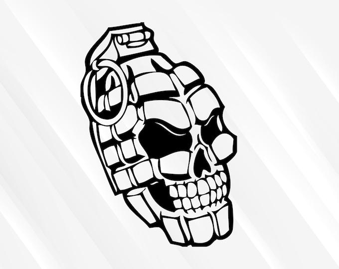 Skull Grenade Decal Skull Grenade Sticker Facing RIght | Skull Decal Skull Sticker | Car Truck Laptop Sticker etc. Choose Size & Color