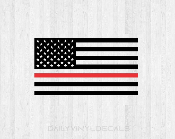 Thin Red Line Decal | American Flag Red Line Decal | Fireman Support Firefighters Decal | Red Line Flag Decal | Car Truck Decal America USA