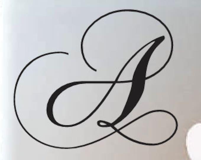 Cursive Letter Decal - Monogram Sticker  Name Initial Sticker *Choose Size & Color* Fancy Script Initials Vinyl Lettering Macbook Decals