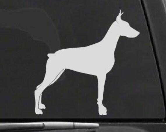 Doberman Dog Decal *Choose Size & Color* Dog Decals - Dog Vinyl Stickers - Doberman Decal Dog Silhouette Vinyl Decal Doberman Car Decal