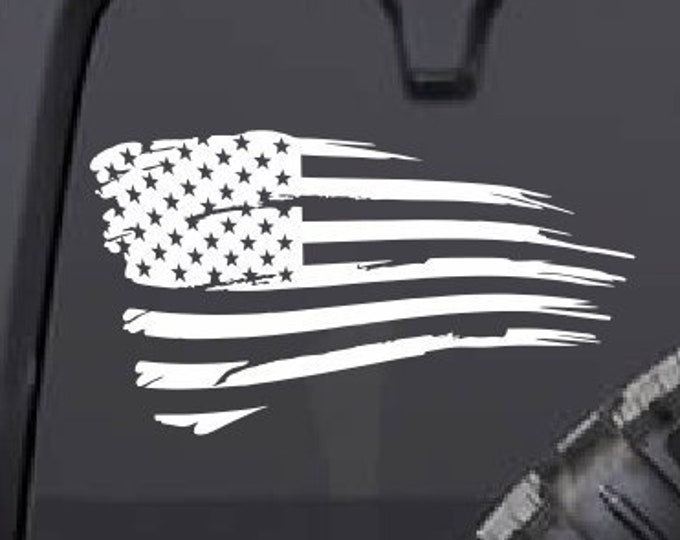 Distressed American Flag Vinyl Decal *Choose Size & Color* Distressed American Flag Sticker - Car Decal Truck Decal America USA