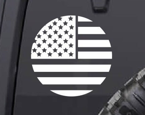 American Flag Decal *Choose Size & Color* Round American Flag Sticker Stars and Stripes Die Cut Vinyls America USA Circle Decal
