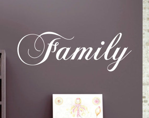 Family Decal *Custom Size & Color* Cursive Scripture Font Family Vinyl Wall Decal Decor - Vinyl Graphics Removable Wall Art Home Decor