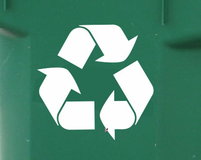 Set of 2 Recycle Symbol Vinyl Decals - Recycle Decals *Choose size & color* Recycle Stickers - Go Green Recycling Can Stickers Recycle Logo