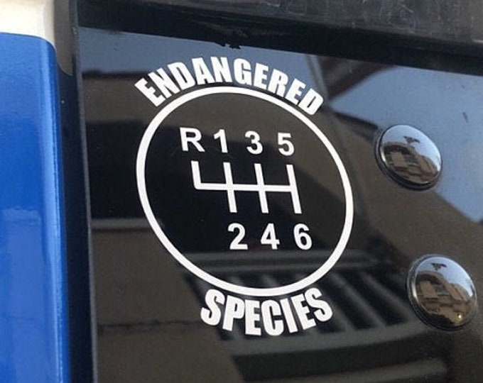 6 Speed Endangered Species Gear Shift Decal - 6 Speed Diagram - Manual Shift Car Stick Shift Manual transmission Car Decal Truck Decal