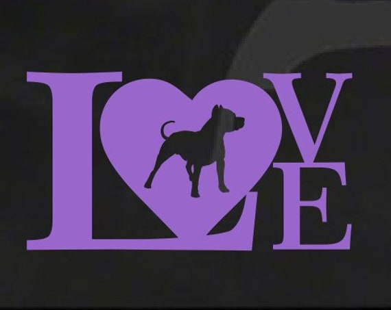 Pit Bull Love Decal *Choose Size & Color* Pit Bull Love Sticker Heart Decal Dog Sticker - Pit Bull Sticker Pit Bull Decal