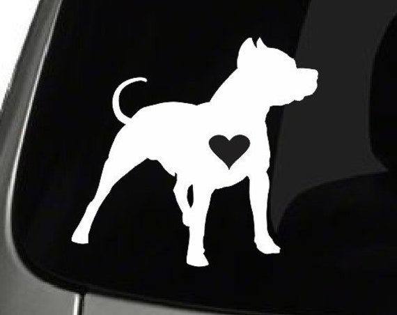 Pitbull with Heart Vinyl Decal *Choose Size & Color* Pitbull Decal Dog Decals - Pitbull Stickers - Pitbull Love Vinyl Sticker - Pet Decal