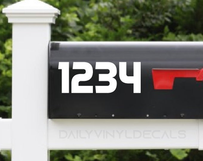 Set of 2 Numbers Decals -Value 2 pack Custom Mailbox Stickers - Bold Professional Italic Numbers Di Cut Vinyl Decals - Home Mailbox Decal
