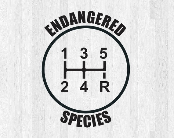 5 Speed Endangered Species Gear Shift Decal - 6 Speed Diagram - Manual Shift Car Stick Shift Manual transmission Car Decal Truck Decal