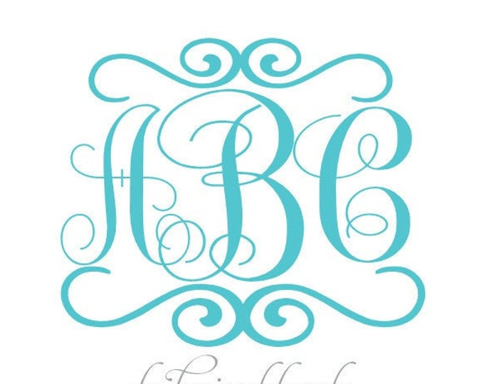 Custom Monogram Vinyl Decal - Custom Monogram Sticker - Custom Monogram Decal Your Name Initials Monogram - Stick Anywhere Cars Trucks Walls