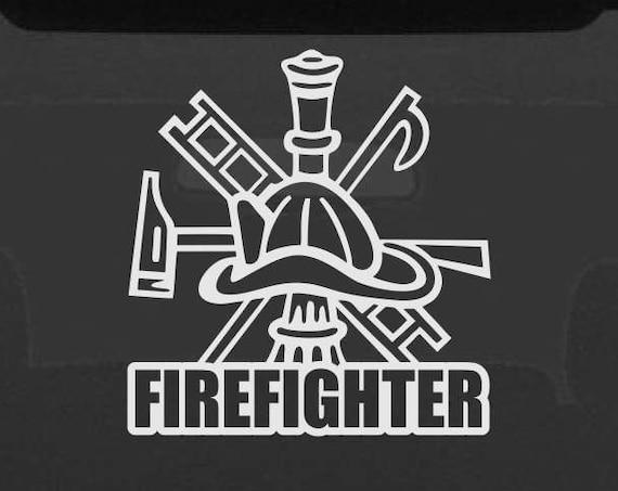 Firefighter Decal - Firefighter Sticker - Firefighter Symbol Hook and Ladder Fire Chief - First Responder Decal - Fire Life Sticker Fireman