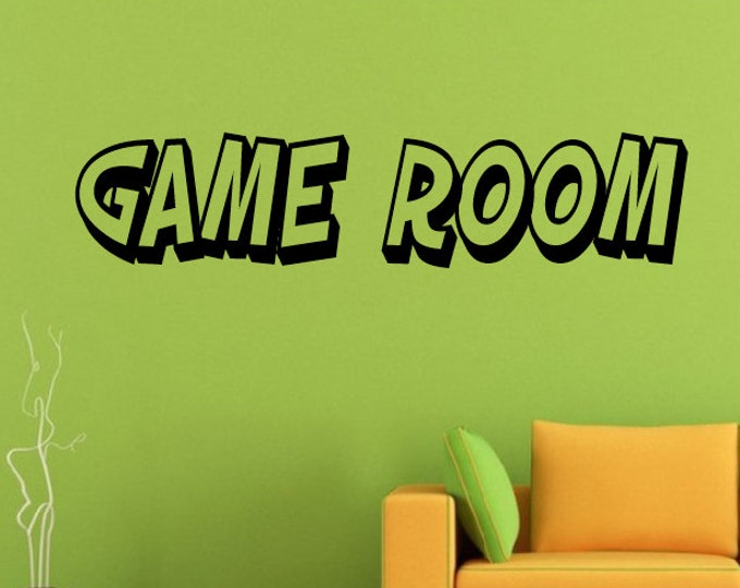 Game Room Wall Decal Game Room Lettering Decal - Game Room Sticker Home Decor Gamer Video Games - Game Room Sign