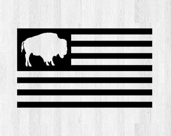 Buffalo American Flag Decal *Choose Size & Color* Stars and Stripes American Flag Sticker Di Cut Vinyl Decal American Flag Car Decal