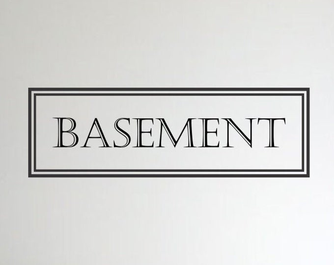 Basement Vinyl Decal *Choose Size & Color* Basement Door Decal - Vintage Style Basement Wall Decal - Vinyl Lettering Wall Door Decal etc.
