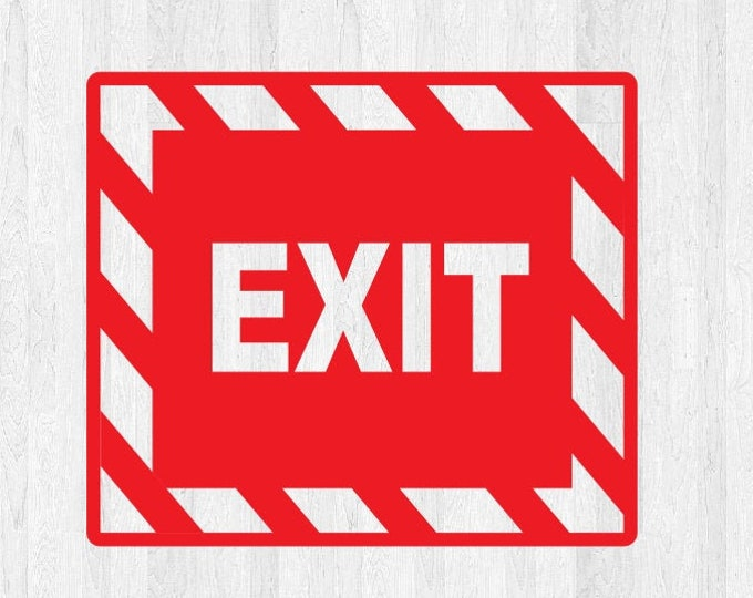 Exit Decal Emergency Exit Sticker - Emergency Exit Sign Decal - Apple directly to door or any clean smooth surface! Very Durable