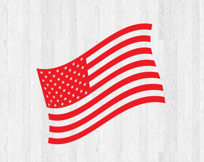 Wavy American Flag Vinyl Decal *Choose Size & Color* Stars and Stripes American Wavy Flag Sticker Wavy American Flag Truck Decal